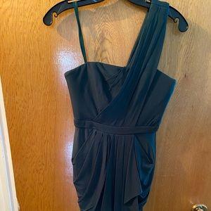 Forest green drape, one shoulder dress.